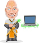 Wizard with Robe Cartoon Vector Character AKA Griffith - Laptop 3