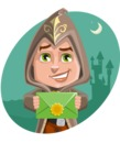 Young Wizard Boy Cartoon Vector Character AKA Ezra the Mage - Shape 4