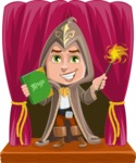 Young Wizard Boy Cartoon Vector Character AKA Ezra the Mage - Shape 8