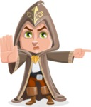 Young Wizard Boy Cartoon Vector Character AKA Ezra the Mage - Direct Attention 1