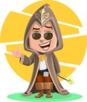 Young Wizard Boy Cartoon Vector Character AKA Ezra the Mage - Shape 10
