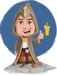 Young Wizard Boy Cartoon Vector Character AKA Ezra the Mage - Shape 11