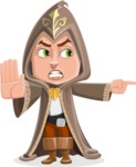 Young Wizard Boy Cartoon Vector Character AKA Ezra the Mage - Direct Attention 2