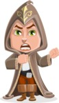 Young Wizard Boy Cartoon Vector Character AKA Ezra the Mage - Angry