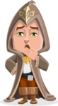 Young Wizard Boy Cartoon Vector Character AKA Ezra the Mage - Bored 1