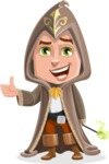 Young Wizard Boy Cartoon Vector Character AKA Ezra the Mage - Thumbs Up