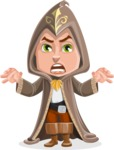 Young Wizard Boy Cartoon Vector Character AKA Ezra the Mage - Scary