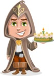 Young Wizard Boy Cartoon Vector Character AKA Ezra the Mage - With Cake
