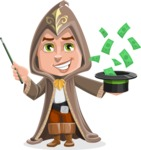 Young Wizard Boy Cartoon Vector Character AKA Ezra the Mage - Money