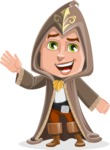 Young Wizard Boy Cartoon Vector Character AKA Ezra the Mage - Wave
