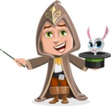 Young Wizard Boy Cartoon Vector Character AKA Ezra the Mage - Bunny