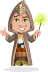 Young Wizard Boy Cartoon Vector Character AKA Ezra the Mage - Magic 2