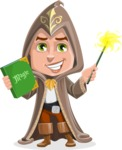 Young Wizard Boy Cartoon Vector Character AKA Ezra the Mage - Magic 4