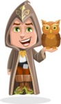 Young Wizard Boy Cartoon Vector Character AKA Ezra the Mage - Owl