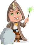 Young Wizard Boy Cartoon Vector Character AKA Ezra the Mage - Grave