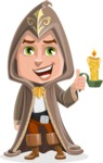 Young Wizard Boy Cartoon Vector Character AKA Ezra the Mage - Candle