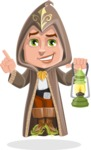 Young Wizard Boy Cartoon Vector Character AKA Ezra the Mage - Lantern
