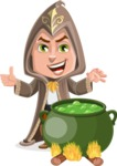 Young Wizard Boy Cartoon Vector Character AKA Ezra the Mage - Making Decoction 1