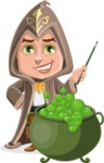 Young Wizard Boy Cartoon Vector Character AKA Ezra the Mage - Making Decoction 2