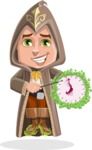 Young Wizard Boy Cartoon Vector Character AKA Ezra the Mage - Time