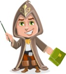 Young Wizard Boy Cartoon Vector Character AKA Ezra the Mage - Briefcase