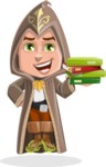Young Wizard Boy Cartoon Vector Character AKA Ezra the Mage - Magic Books