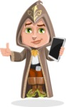 Young Wizard Boy Cartoon Vector Character AKA Ezra the Mage - Tablet 3