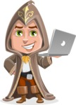 Young Wizard Boy Cartoon Vector Character AKA Ezra the Mage - Laptop 1