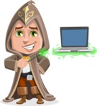Young Wizard Boy Cartoon Vector Character AKA Ezra the Mage - Laptop 3