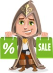 Young Wizard Boy Cartoon Vector Character AKA Ezra the Mage - Sale 1
