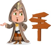 Young Wizard Boy Cartoon Vector Character AKA Ezra the Mage - Crossroad