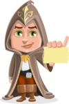 Young Wizard Boy Cartoon Vector Character AKA Ezra the Mage - Sign 1