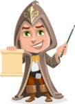 Young Wizard Boy Cartoon Vector Character AKA Ezra the Mage - Sign 2