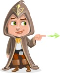Young Wizard Boy Cartoon Vector Character AKA Ezra the Mage - Point 1