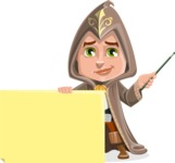 Young Wizard Boy Cartoon Vector Character AKA Ezra the Mage - Sign 6