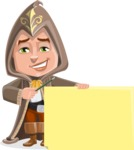 Young Wizard Boy Cartoon Vector Character AKA Ezra the Mage - Sign 7