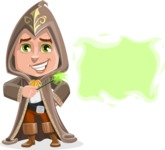 Young Wizard Boy Cartoon Vector Character AKA Ezra the Mage - Sign 8