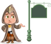 Young Wizard Boy Cartoon Vector Character AKA Ezra the Mage - Street Sign