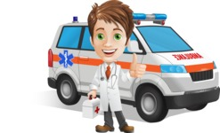 Physician With Stethoscope Cartoon Vector Character AKA Kyle On-the-Call - With Ambulance