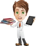 Physician With Stethoscope Cartoon Vector Character AKA Kyle On-the-Call - Choosing Between Tablet and Books