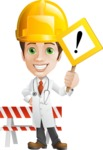 Physician With Stethoscope Cartoon Vector Character AKA Kyle On-the-Call - With Under Construction Sign