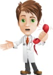 Physician With Stethoscope Cartoon Vector Character AKA Kyle On-the-Call - Emergency Help