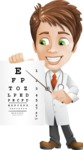 Physician With Stethoscope Cartoon Vector Character AKA Kyle On-the-Call - Pointing to Eye Chart