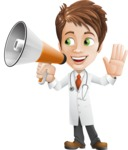 Physician With Stethoscope Cartoon Vector Character AKA Kyle On-the-Call - Holding a Loudspeaker