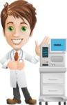 Physician With Stethoscope Cartoon Vector Character AKA Kyle On-the-Call - With ECG Machine