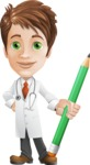 Physician With Stethoscope Cartoon Vector Character AKA Kyle On-the-Call - With Pencil