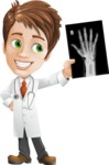 Physician With Stethoscope Cartoon Vector Character AKA Kyle On-the-Call - Holding Hand X-Ray
