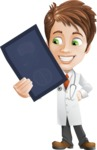 Physician With Stethoscope Cartoon Vector Character AKA Kyle On-the-Call - Holding Radiography