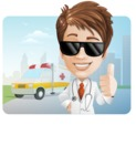 Physician With Stethoscope Cartoon Vector Character AKA Kyle On-the-Call - With City Landscape and Ambulance Illustration