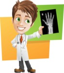 Physician With Stethoscope Cartoon Vector Character AKA Kyle On-the-Call - With X-Ray and Bright Colors Backround